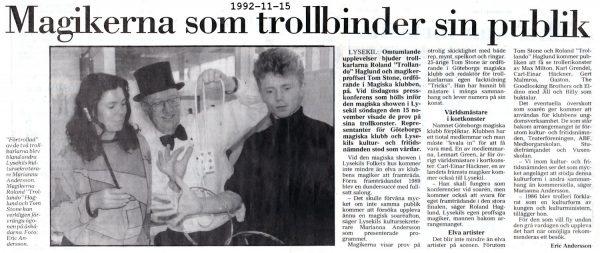 Magishow Lysekils folkets hus 15 november 1992