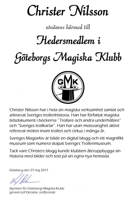 Christer Nilsson - Hedersmedlem i GMK