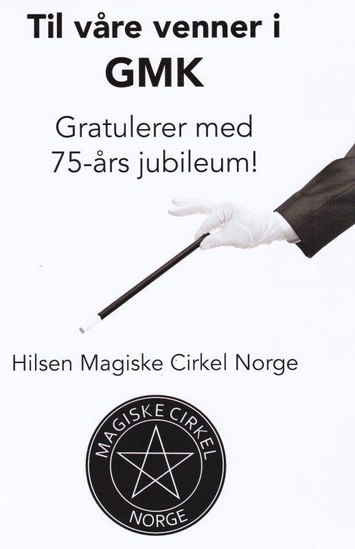 MCNs gratulationskort till GMK 75 år