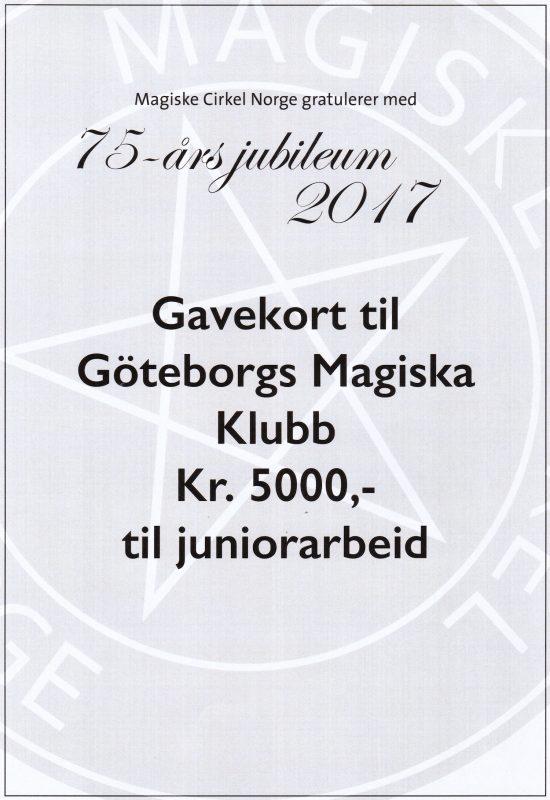 MCNs gåva till GMK 75 år - 5000 kr