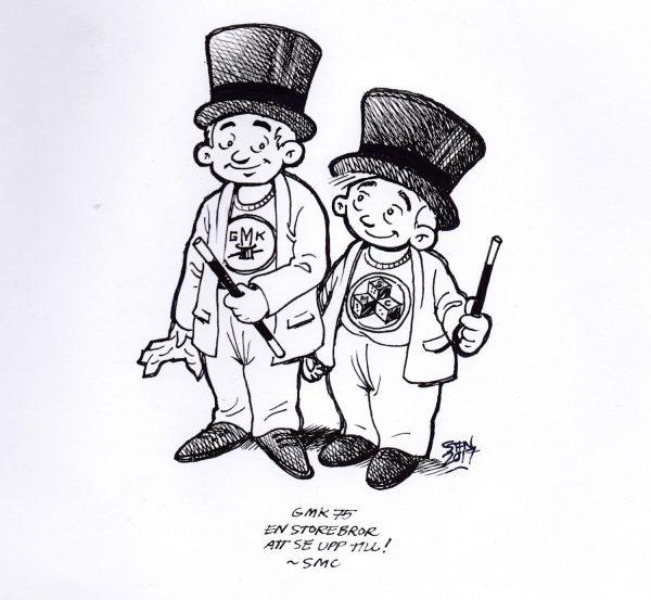 SMCs gåva till GMK 75 år tecknad av Stefan Eriksson