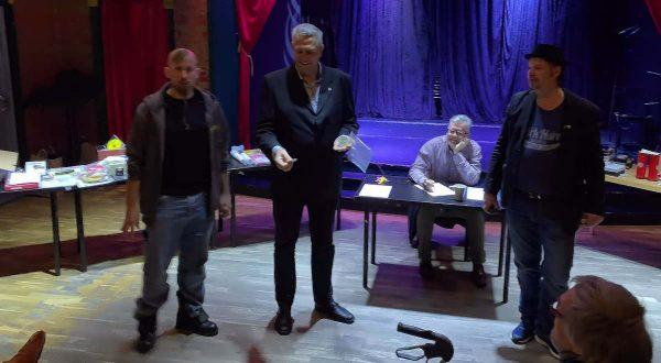 Anton, Leif, Anders och Martin höll i auktionen.